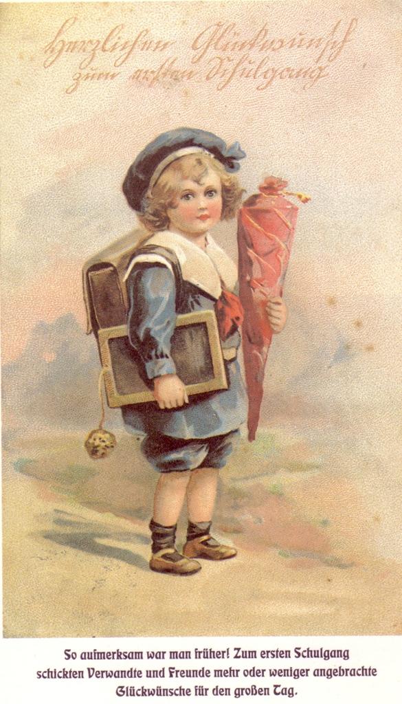 Postkarte zum ersten Schultag