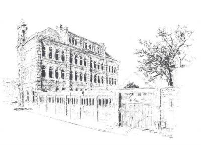 Skizze der Schule, Bleistiftzeichnung